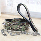 Camo Leather Rivets Dog Collar+Chain Leash SET Spiked Studded Pitbull Rottweiler