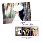 Personalised wedding thank you cards WHITE PURPLE PHOTOS FREE ENVELOPES & DRAFT