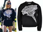 Black White Cut-out See-through Lace Emboridered Flower Digital Sweatshirt Top