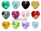 1 PC SWAROVSKI ELEMENTS 6228 HEART 14mm Pendant Crystal -  All Colours & Effect