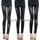 New Sexy Lady Stitching Stretchy Faux Leather Back Tight Leggings Pant 6 Size