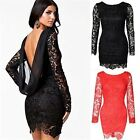 Women's Strapless Stitching Lace Crohet Hollow Long Sleeve Hot Package Hip Dress