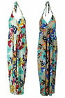 COLLECTION LONDON Womens Ladies Floral Printed Halter Neck Long Gown Maxi Dress