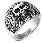 Stainless Steel Black Oxidized Angry Pirate Skull Biker Tribal Ring Size 9-17