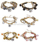 1pc New For Wedding Party Rhinestone Pearl Beads Gold Chain Rope Bracelet