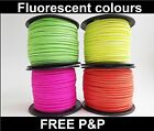 Faux Suede Cord, String, Thong 3 mm x 1.5mm - Bright Fluorescent colours (A1)