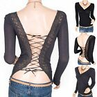 Sexiest Corset Lace Up Back Twisted Front Long Sleeves Top Blouse