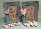 4 x Ditsy Floral Vintage Chic Fabric Heart or Bird Decorations Shabby Decoration