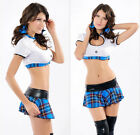 New Sexy  Uniform Straight School Girl Costume Clothing Set Summer Fancy Dress