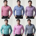 Tops Designed Mens Grid Long Sleeve Button Down Casual Collared Check Shirts NEW
