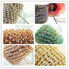 New gold bottom colorful rhinestone 4mm close chain trim sewing craft gift DIY