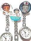BETTY BOOP Nurse Watch Stainless Steel Fob Pocket Watch Clip On Brooch £3.80 $7.27 AUD on eBay