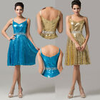 Chic Sequins V-Neck Short Sexy Women Formal Evening Bridal Prom Bridesmaid Dress