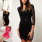 Womens Ladies Sexy Long Sleeve V Neck Evening Party Cocktail Lace Mini Dress UK