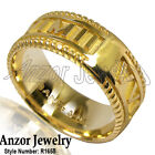 Women's 14k Solid  Gold Roman Design Ring Your Special Date MM/DD/YYYY :R1658