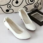 Womens Fashion Bowknot Low Heel Pointed Toe Pumps Court Party Wedding Shoes New