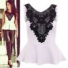 Womens Ladies Keyhole front Crochet Sleeveless  Mini Dress Top (Size 8 to 14)