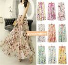 New Womens Pleated Boho Beach Maxi Dress Flower 2 Layer Elastic Waist Long Skirt