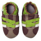 Momo Baby Boys Brown/Green Z-Strap Sneaker Soft Sole Leather Shoes