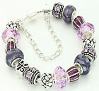 PERSONALISED CHARM BRACELET LILAC PURPLE SPARKLE LADIES MUM NAN PRESENT GIFT BOX