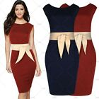 Women Vintage Retro 1950s Cocktail Evening Party Butterfly Knot Pencil Dress