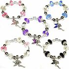 Kids Adults Finished TINKERBELL FAIRY Silver Plated CHARM BEAD BRACELETS