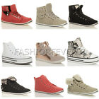 WOMENS LADIES FLAT HI TOP PLATFORM STRAP LACE UP SPIKE PUMPS BUCKLE TRAINERS