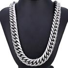 18mm Heavy Curb Cuban Boys Mens Chain Silver Tone 316L Stainless Steel Necklace