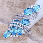 Hot ! Sky Blue White Topaz Silver Ring For Women Size 5 6 7 8 9 S0177