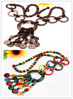 "HOT Handmade Coconut Shell Circle Pendant Necklace 28""L NEW More Colors Options"
