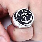 Mens Huge Band Men Biker Silver Anchor 316L Stainless Steel Rings Punk Style