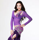 Sexy Transparent Style Belly Dance costume Yoga Long Sleeve Blouse Top 8 colors