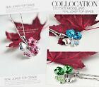 Cute Lady`s Elegant Crystal Rhinestone Four Leaf Clover Necklace Pendant Chain