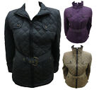LADIES QUILTED PADDED BELTED ZIP UP JACKET COAT PLUS SIZE 14 - 20