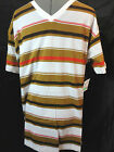 Nwt SMOKE RICE tee shirt mens XL Brown White Red stripe Short sleeve v neck top