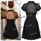 Womens Sexy Backless Mesh Collared Skater Club Party Shirt Mini Dresses US 46810