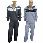 MENS jogging suit tracksuit hooded hoodie tops bottoms fleece pants size Stripe