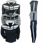 KIDS TRACKSUIT HOODED TOP JOGGING BOTTOMS STRIPE BOYS 2 PIECE SUIT UK 7-13 YEARS