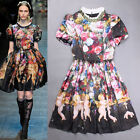New Season Vintage Italian Oil Painting Short Sleeve  Print Dress