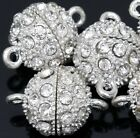 5X Silver Plated Strong Magnetic Round Ball Crystal Rhinestone Clasps