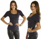 Navy Blue Plain Basic PUFF shoulder Short Sleeve Stretch Fit Casual T-Shirt Top