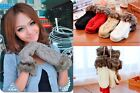 Lady  Ragwool Winter thicking Mittens Knitted Warm Fur Halter Wrist Full Gloves