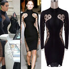 Women Open Back Dot Cut Out Sheer Bodycon Party Cocktail Evening Midi Dress C