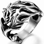 Silver Stainless Steel Dragon Ring Size 6-10 Mens Birthday Gifts Punk Rock Style