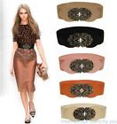 Women/Lady's StretchTotem Flower Buckle Retro Belt Waistband Elastic Waist Belt