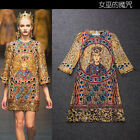 New Season Catwalk Runway Vintage Italy  Print Retro Dress