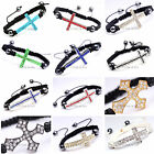 Wholesale Lot of 12 Handmade Crystal Cross Connector Cord Macrame Charm Bracelet