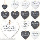 "Shabby Chic / Distressed White or Grey 4.5"" WOODEN HEART Sign / Plaque sayings"