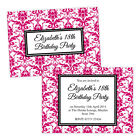 Personalised birthday party invitations DAMASK BORDER HOT PINK FREE ENVELOPES &