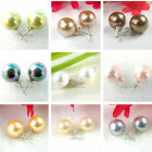 Choose Color 12mm Round Sea Shell Pearl Stick Stud Style Earring Sterling Silver